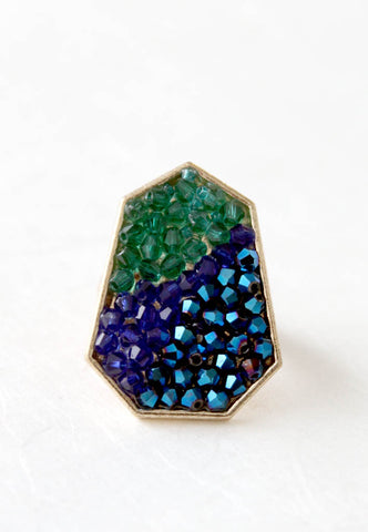 green and blue crystal ring
