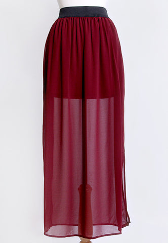 San Francisco Sunset Burgundy Maxi Skirt
