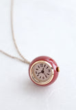 Time After Time Burgundy Clock Necklace