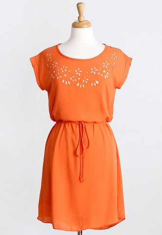 orange cutout flower dress