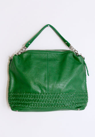 green braided summer purse