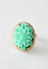 mint green flower ring