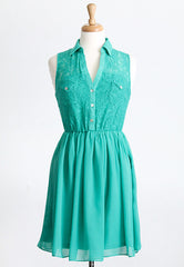 green lace and chiffon dress