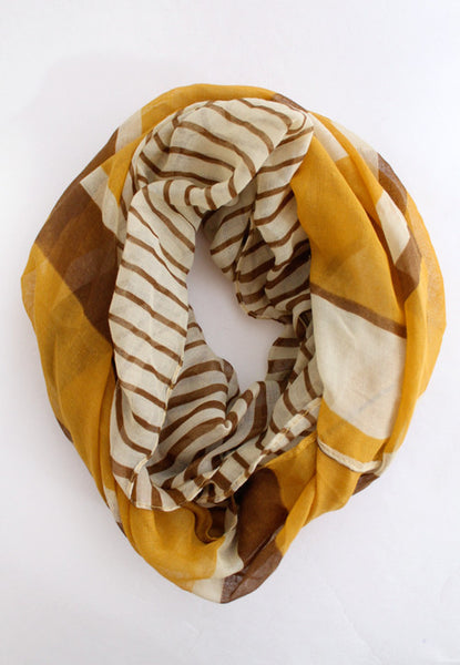 Tree Rings Striped Infinity Scarf