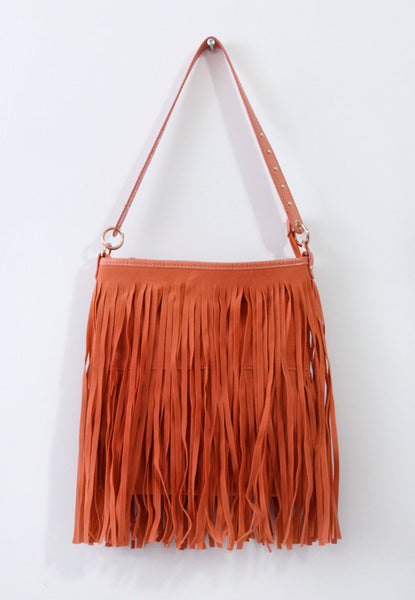 Free Spirit Orange Fringe Bag