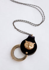 Inspector Owl Magnifying Glass Necklace