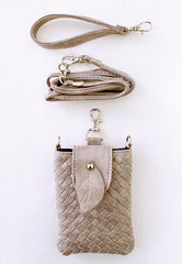 faux leather braided wristlet with leaf