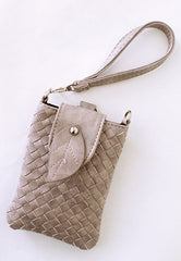 braided faux leather cell phone bag