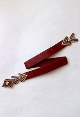 Arrow Stretch Belt In Burgundy