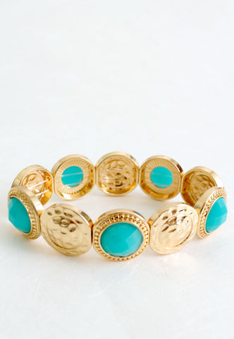 hammered gold and blue bead bracelet