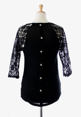 back buttons on black lace top