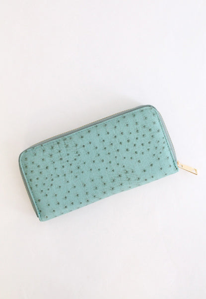 faux leather ostrich print wallet