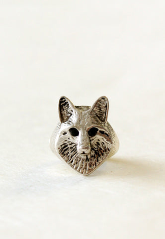 silver fox face ring
