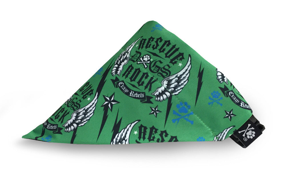 Rescue Dogs Rock Green Bandana (Nylon Collar Not Included)
