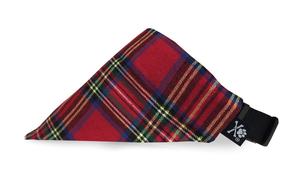 Tartan Plaid Red Bandana (Nylon Collar Not Included)