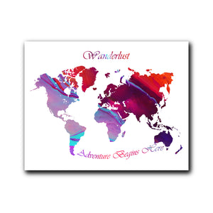 Colorful Wanderlust World Map Poster for Home, Office and Dorm Wall Decor