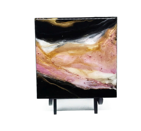 "Rose Gold Pink and Black Painting - Small Wall Art 6""x6"""
