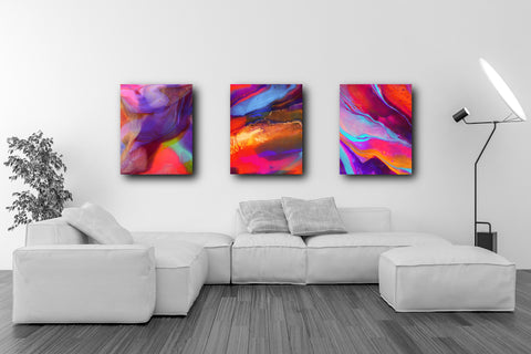 Colorful Prints Set of 3, Art Gift Set, Office Art Prints (PPS-007)