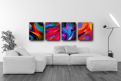 Colourful Set of 4 Abstract Art Prints (PPS-005)
