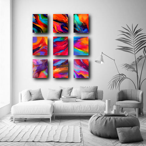 Colourful Set of 9 Abstract Art Prints (PPS-006)