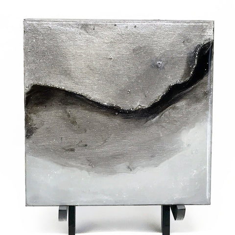 Black and White Abstract Horizon Painting