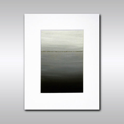 Original Acrylic Painting Minimalist Monochromatic Abstract Horizon Painting with Sparkly Metallic White Gold Detail