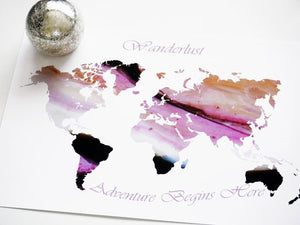 Wanderlust World Map Print for Decor, Pink Wall Print, Wanderlust Decorative World Map, Wanderlust World Art Map, World Map for Office Decor