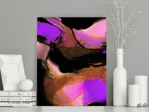 Jewel Toned Abstract Art Print, Pink Black and Purple, Made in Canada (P-010)