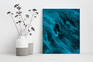 Jewel Toned Teal Abstract Wall Print for Home Wall and Office Decor (P - 008)