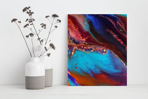 Jewel Toned Blue Wall Art for Living Room (P-022)