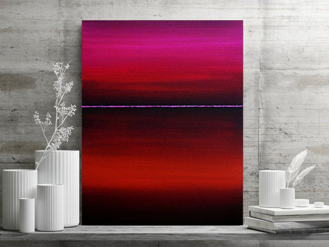 Minimalist Abstract Horizon Print - Jewel Toned Magenta and Red  (P - 028)