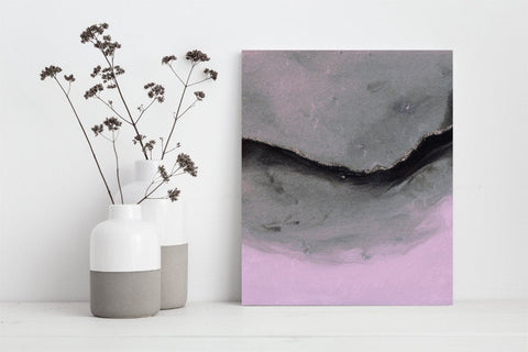Pink and Gray Abstract Art Print for Wall Decor ( P - 029)