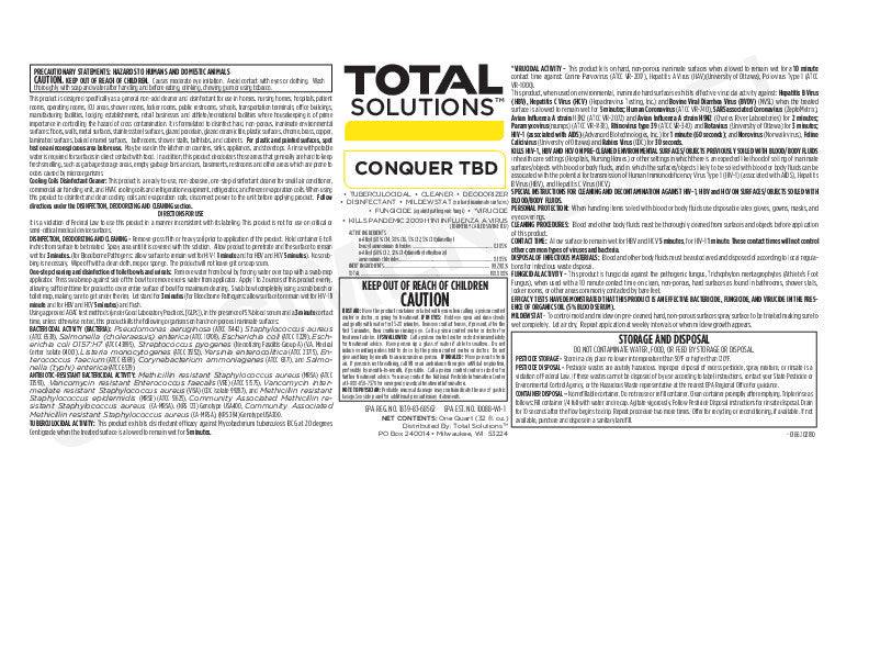 Conquer Tbc General Non Acid Cleaner And Disinfectant
