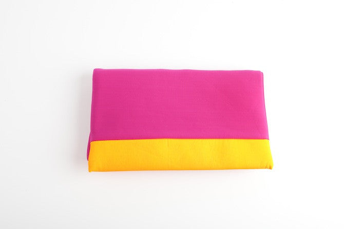 Color block Large Clutch Fushia/Orange