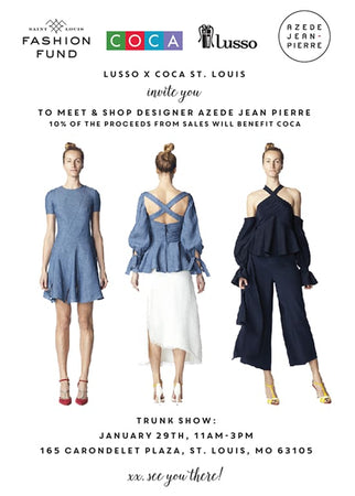 AZEDE JEAN-PIERRE trunk show at lusso to benefit COCA