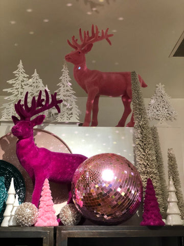 lusso christmas pink deer disco ball