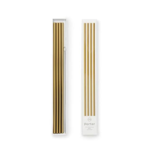 10in metal straws -set of 4 with cleaner - gold - Home & Gift