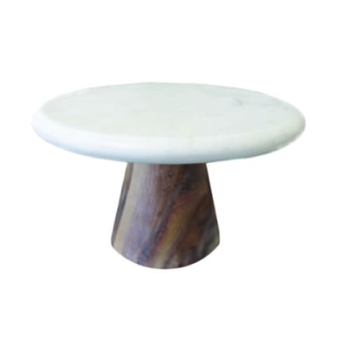white marble and wood cake stand - Home & Gift