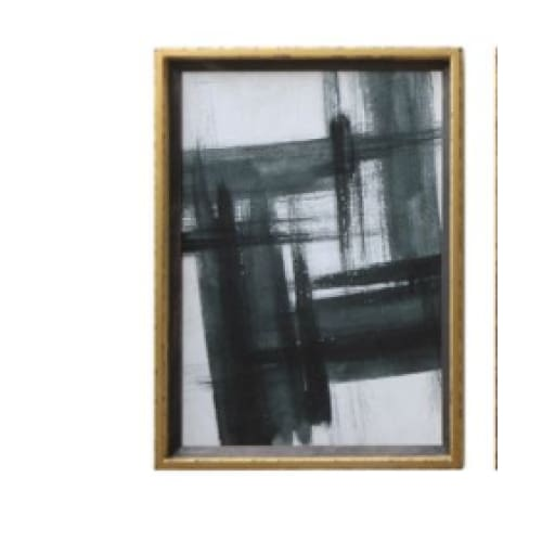 wood framed gold & black abstract art - Home & Gift