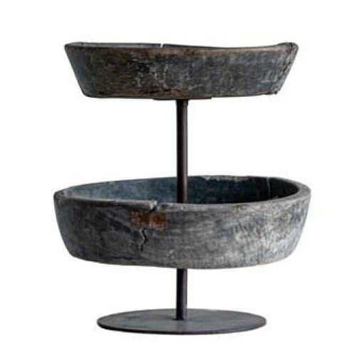 wood & metal 2 tier bowl on stand - Home & Gift