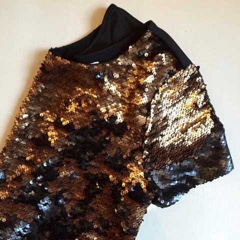 gold sequined tee from weston wear at lusso