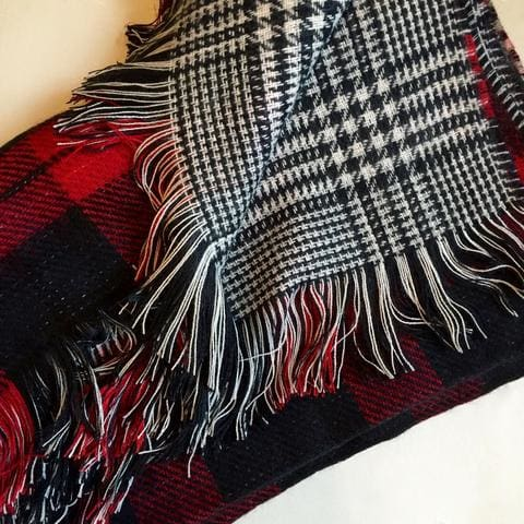 plaid reversible blanket scarf from michael stars at lusso