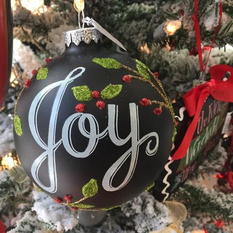 chalkboard joy ornament in st louis at lusso