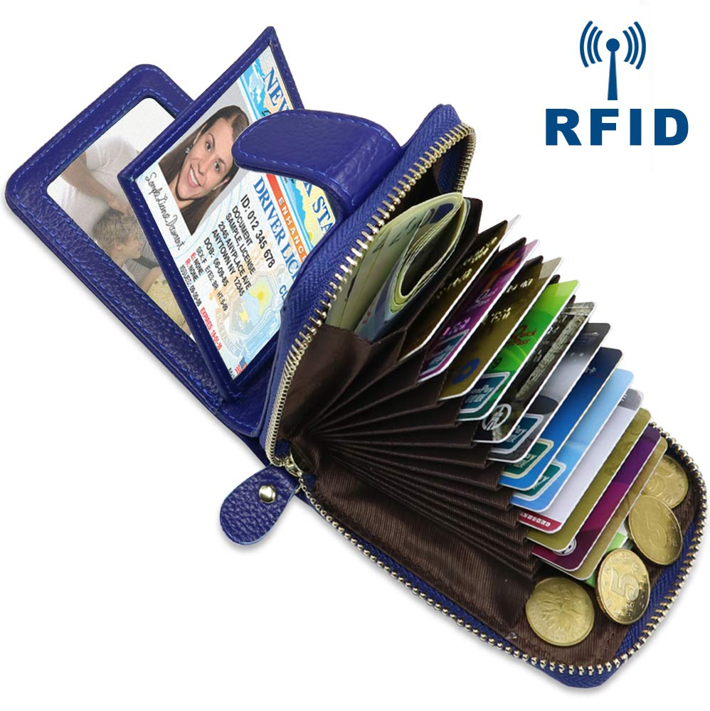 Unisex Genuine Leather Credit Card Business Card Holder Accordion Style Wallet