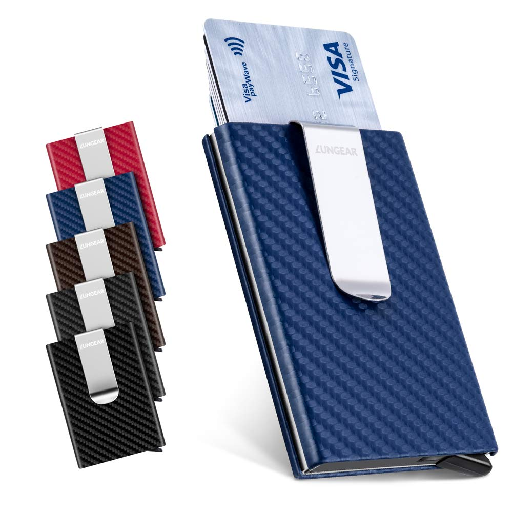 New Metal Carbon Fiber Slim ID Credit Card RFID Protector Holder Purse Wallet UK