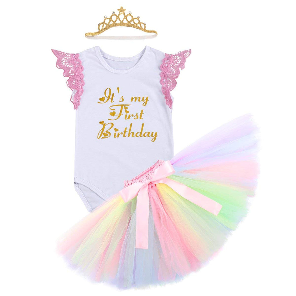 2e649ad31e2 Cake Smash Outfits Newborn Baby Girls It s My 1st Birthday Unicorn Shiny  Printed Romper Suit Sequin