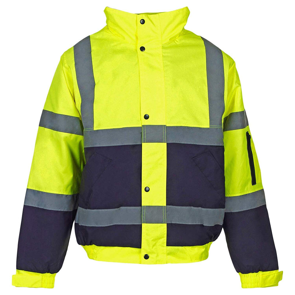 SECURITY Bomber Jacket Hi Vis Reflective Black Workwear Contractor