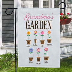 Personalized Grandma's Garden Flower Pots Garden Flag- One Sided Flag