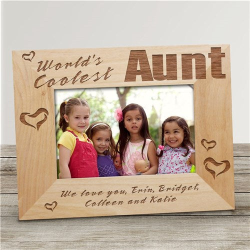 "World's Coolest Aunt Personalized Wood Picture Frame - 4"" x 6"""