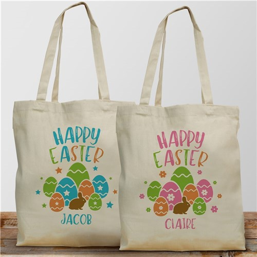 Personalized Happy Easter Tote Bag-Blue